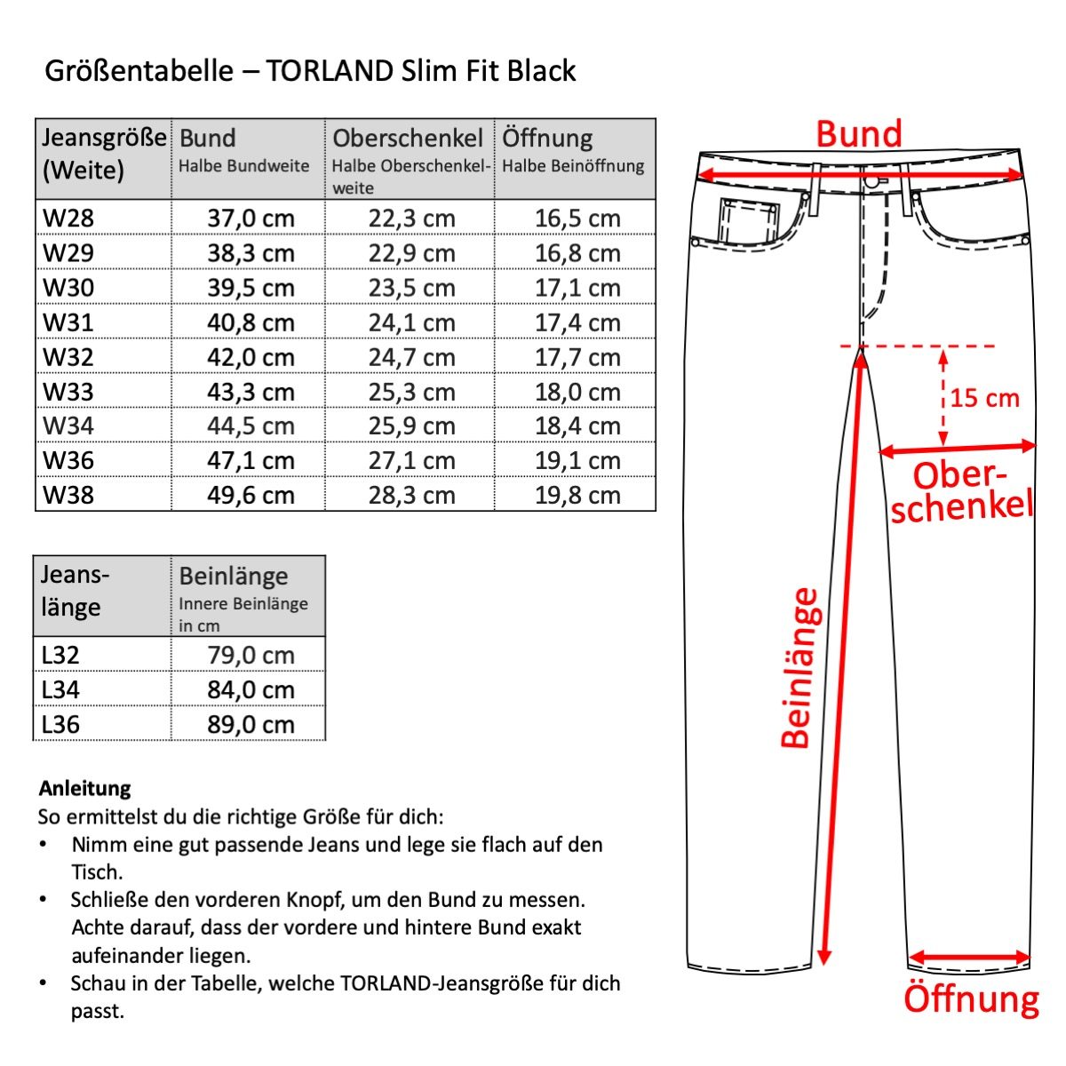 Grössentabelle - TORLAND Slim Fit Black