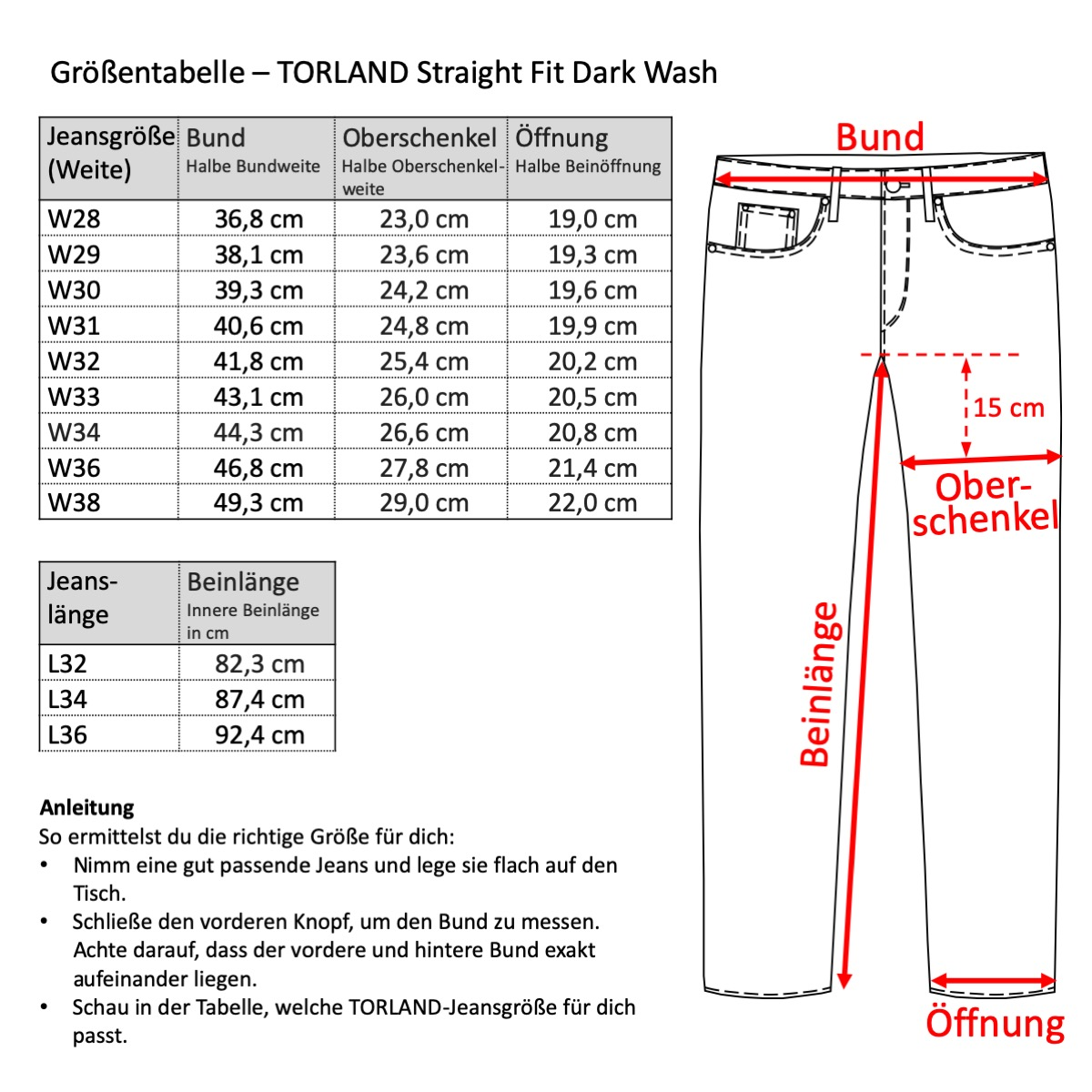 Grössentabelle - TORLAND Straight Fit Dark Wash